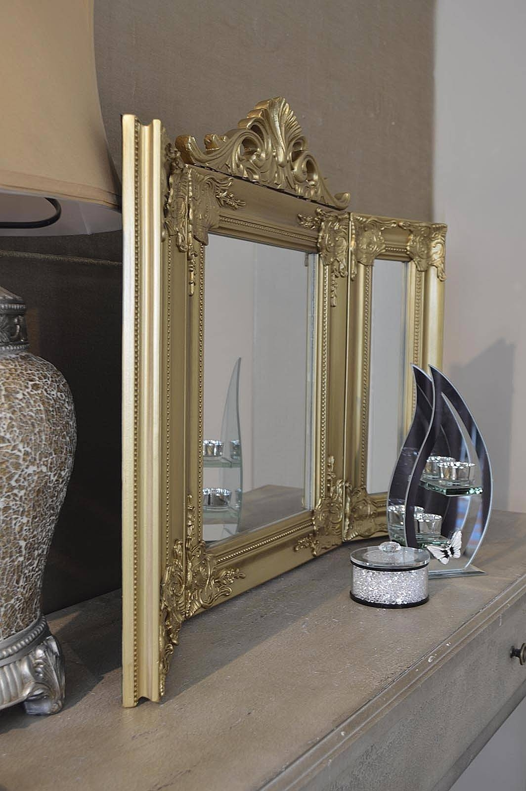 Elegant Gold Antique Style Design Free Standing Dressing Table Throughout Gold Dressing Table Mirrors (View 6 of 15)