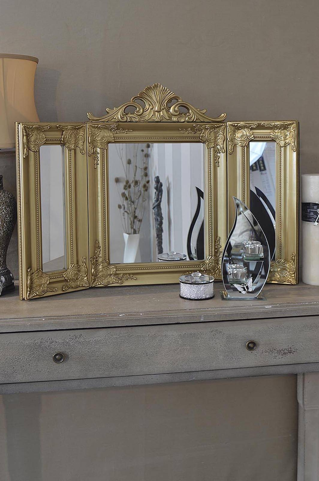 Elegant Gold Antique Style Design Free Standing Dressing Table Within Gold Dressing Table Mirrors (View 7 of 15)