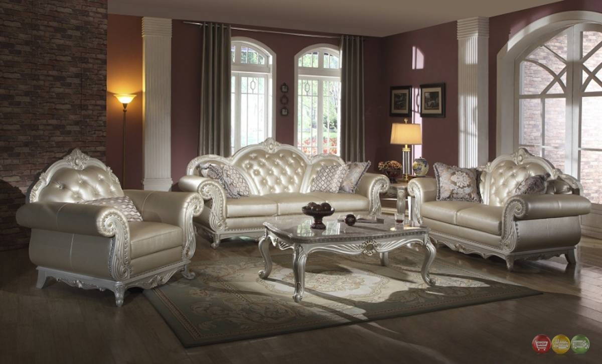 Elegant Metallic Pearl Button Tufted Leather Formal Living Room inside Elegant Sofas and Chairs (Image 6 of 15)