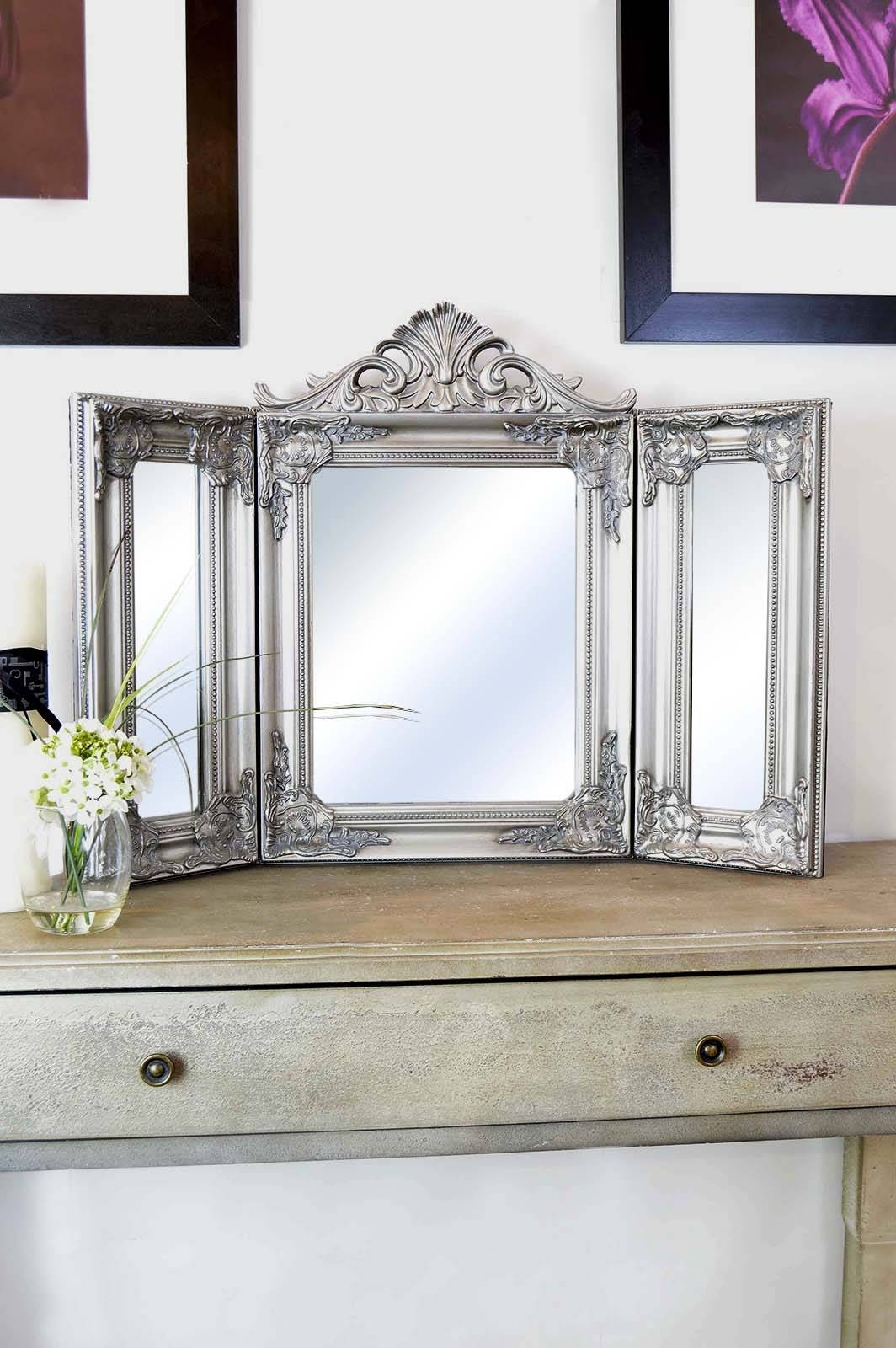 Elegant Silver Antique Style Design Free Standing Dressing Table intended for Free Standing Table Mirrors (Image 2 of 15)