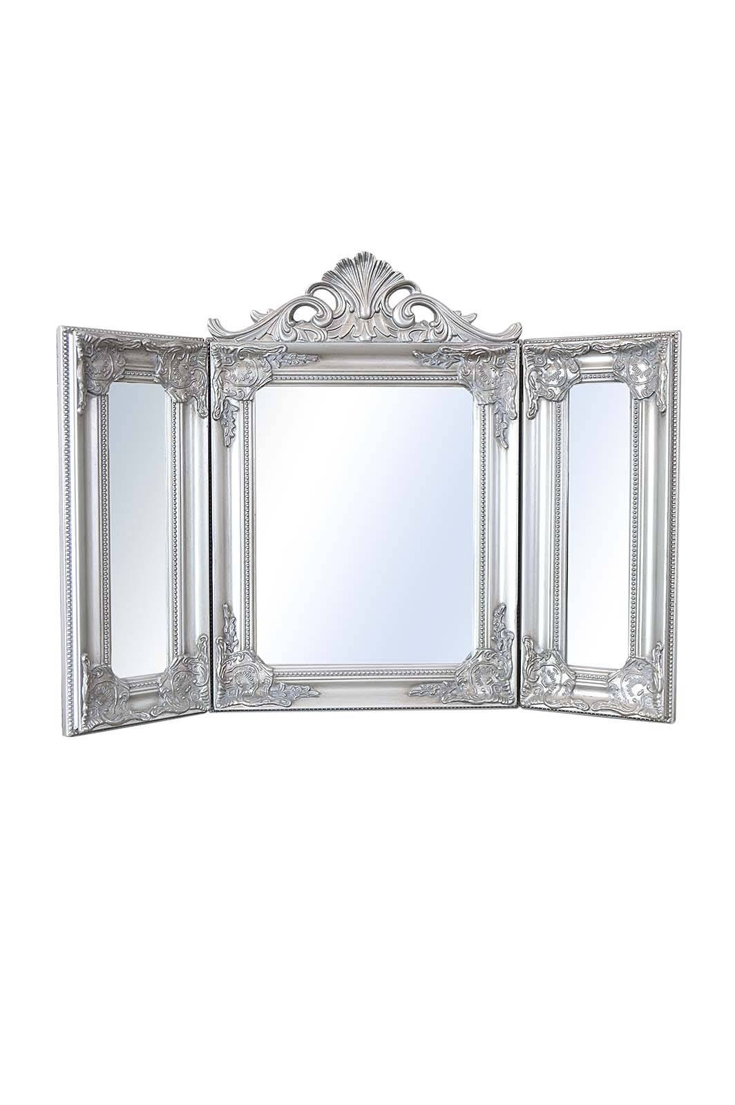 Elegant Silver Antique Style Design Free Standing Dressing Table Regarding Silver Dressing Table Mirrors (View 11 of 15)