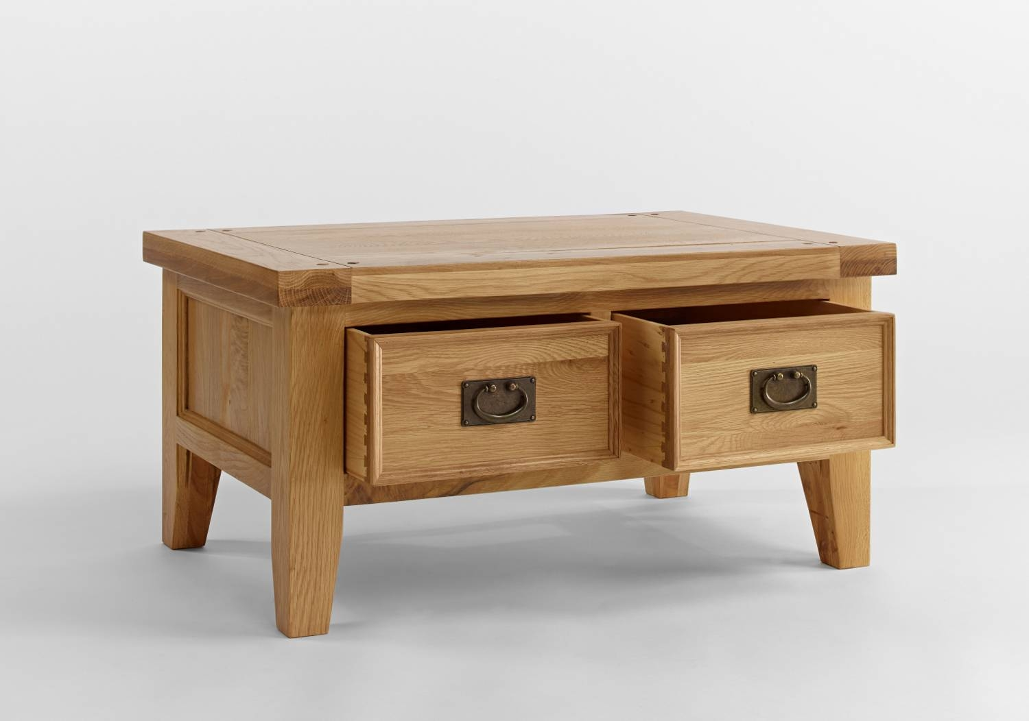 Elegant Small Oak Coffee Table With Storage 2 Drawers Underneath Regarding Small Oak Coffee Tables (View 3 of 15)