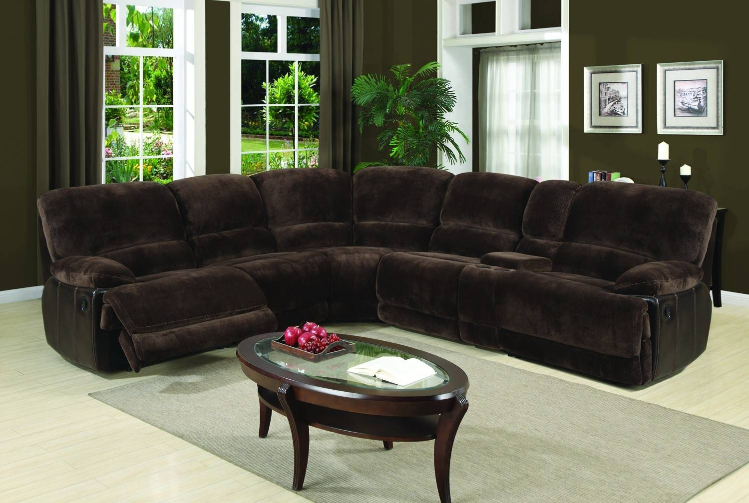 Eli Dark Brown 6-Piece Sectional Sofa For $1,698.00 - Furnitureusa in 6 Piece Sectional Sofas Couches (Image 6 of 15)