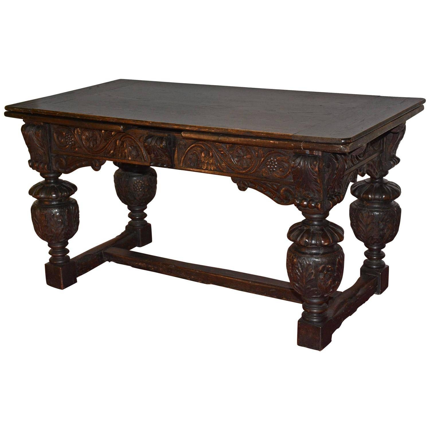 Elizabethan Style Hand Carved Oak Library Table For Sale At 1Stdibs Pertaining To Jacobean Coffee Tables (Image 8 of 15)