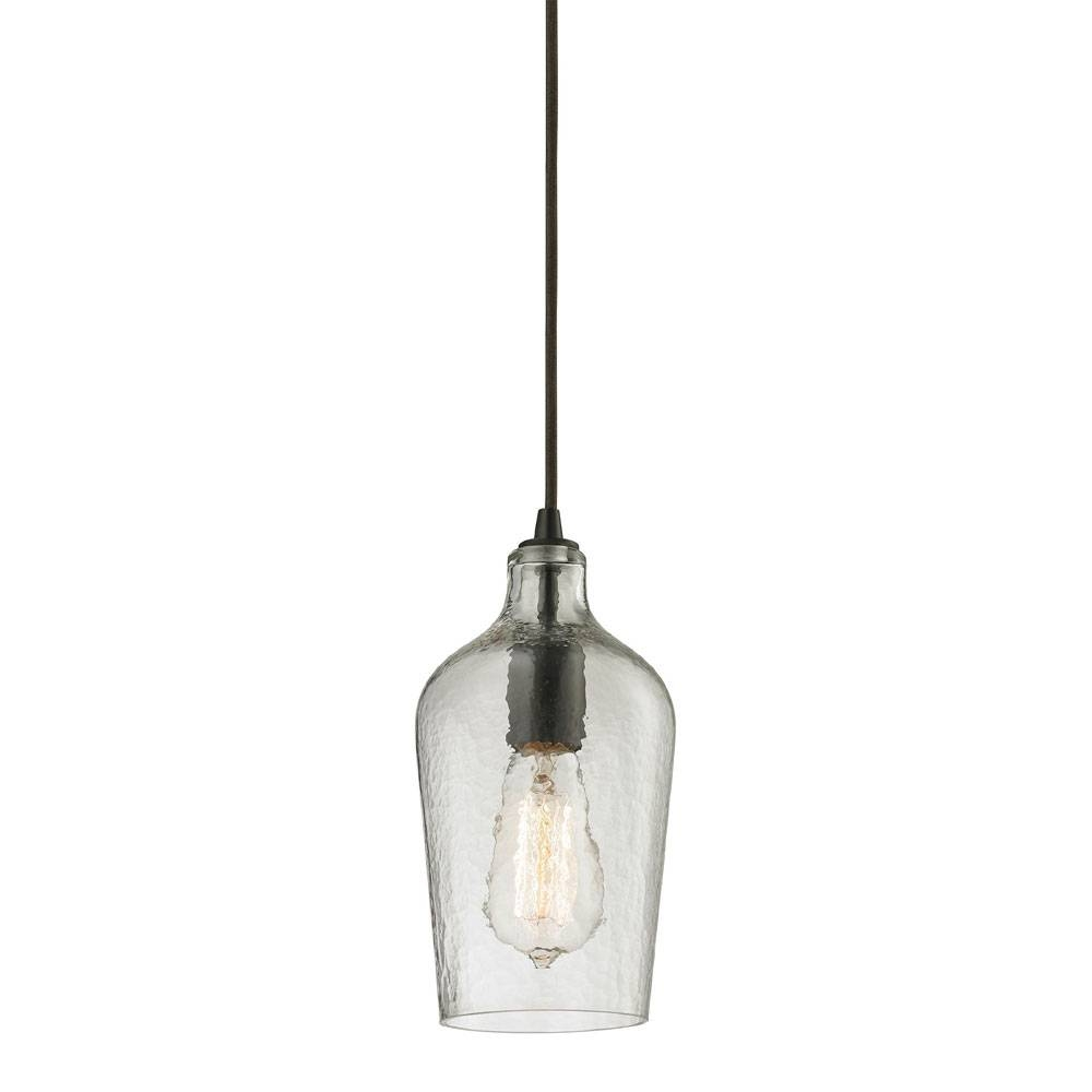 Elk 10331-1Clr Hammered Glass Modern Oil Rubbed Bronze Mini throughout Oil Rubbed Bronze Pendant Lights (Image 2 of 15)