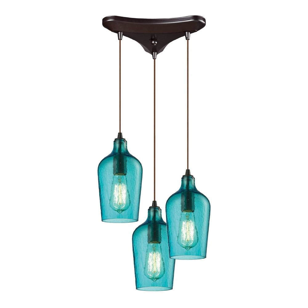 Elk 10331-3Haq Hammered Glass Modern Oil Rubbed Bronze Multi within Hammered Pendant Lights (Image 2 of 15)