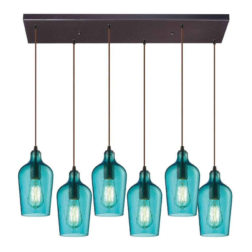 Elk 10331-6Rc-Haq Hammered Glass Modern Oil Rubbed Bronze Multi with Oiled Bronze Pendant Lights (Image 3 of 15)
