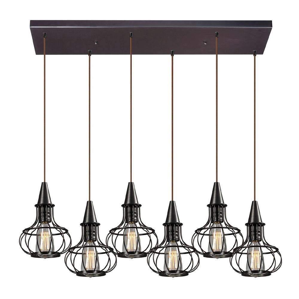 Elk 14191-6Rc Yardley Retro Oil Rubbed Bronze Multi Pendant throughout Oil Rubbed Bronze Pendant Lights (Image 3 of 15)