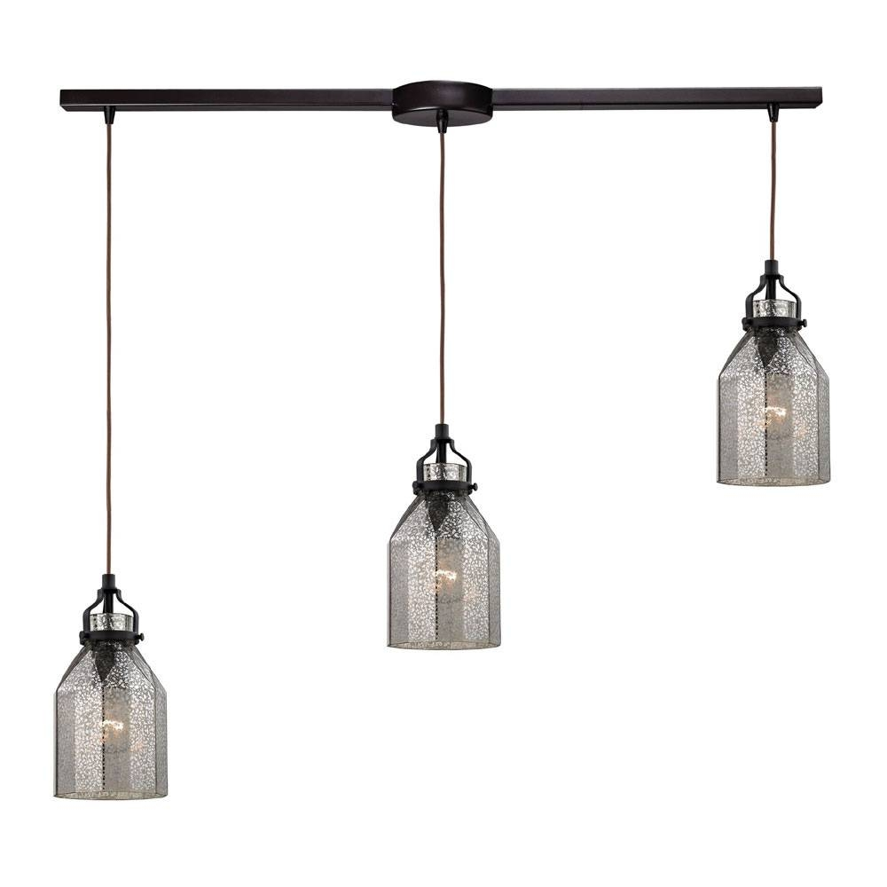 Elk 46009-3L Danica Modern Oil Rubbed Bronze Multi Pendant Light with Oil Rubbed Bronze Pendant Lights (Image 5 of 15)