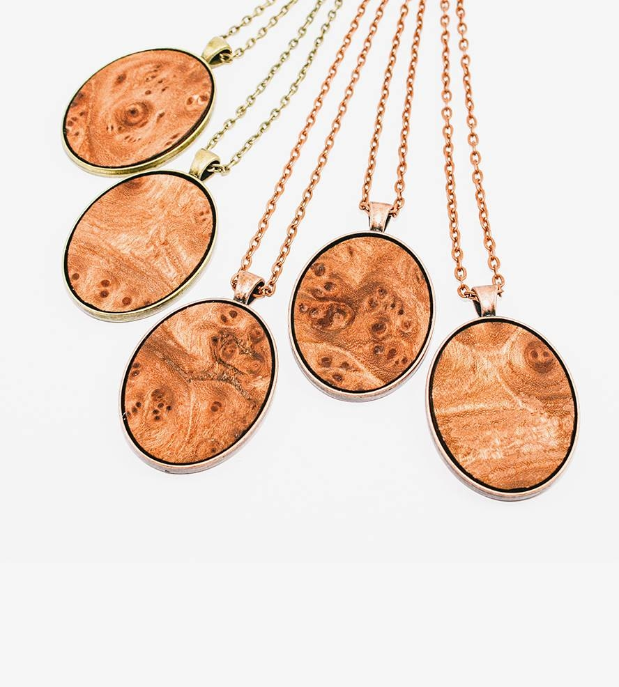 Elm Wood Veneer Oval Pendant Necklace | Features Fall Jewelry in Wood Veneer Pendants (Image 4 of 15)