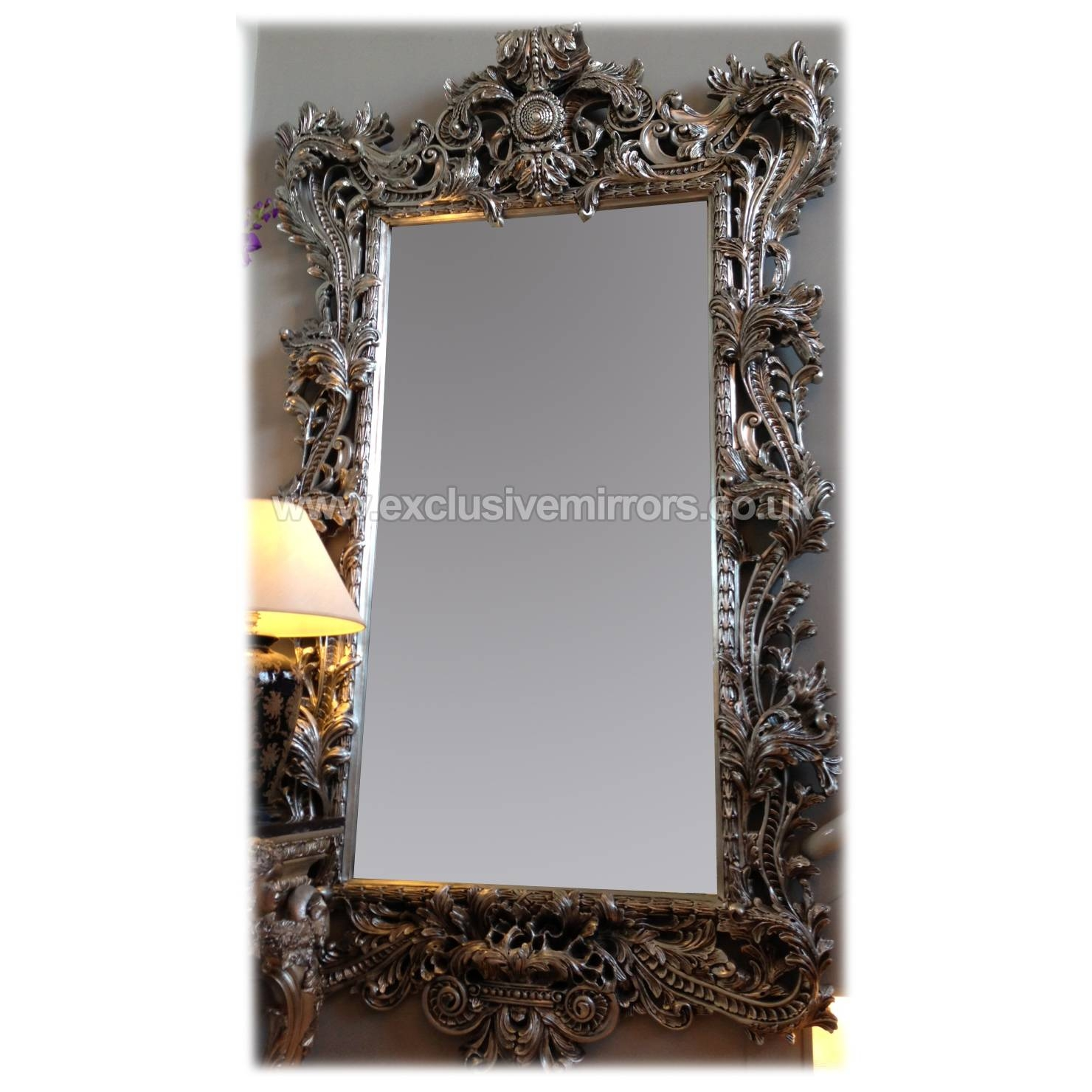 Enchanting Ornate Wall Mirrors Uk Wall Mirrors Ornate Wall Antique pertaining to Large Silver Vintage Mirrors (Image 5 of 15)