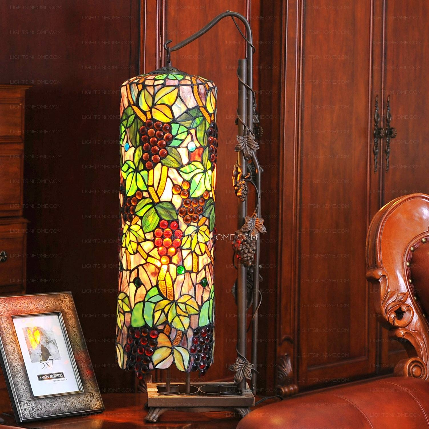 End Grape Pattern Stained Glass Shade Tiffany Hanging Lamps For Stained Glass Pendant Lights Patterns (View 5 of 15)