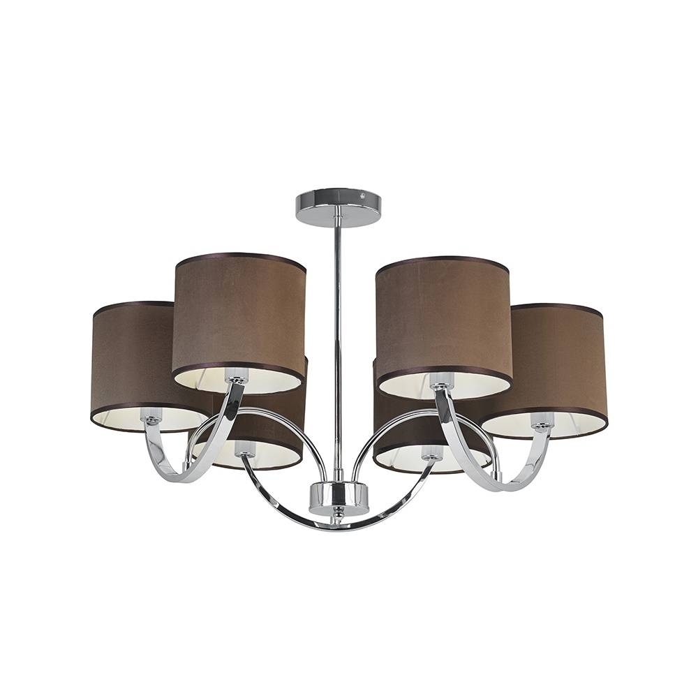 Endon Macy-6Ch 6 Light Simple Multi Arm Polished Chrome Pendant for Multi Arm Pendant Lights (Image 4 of 15)