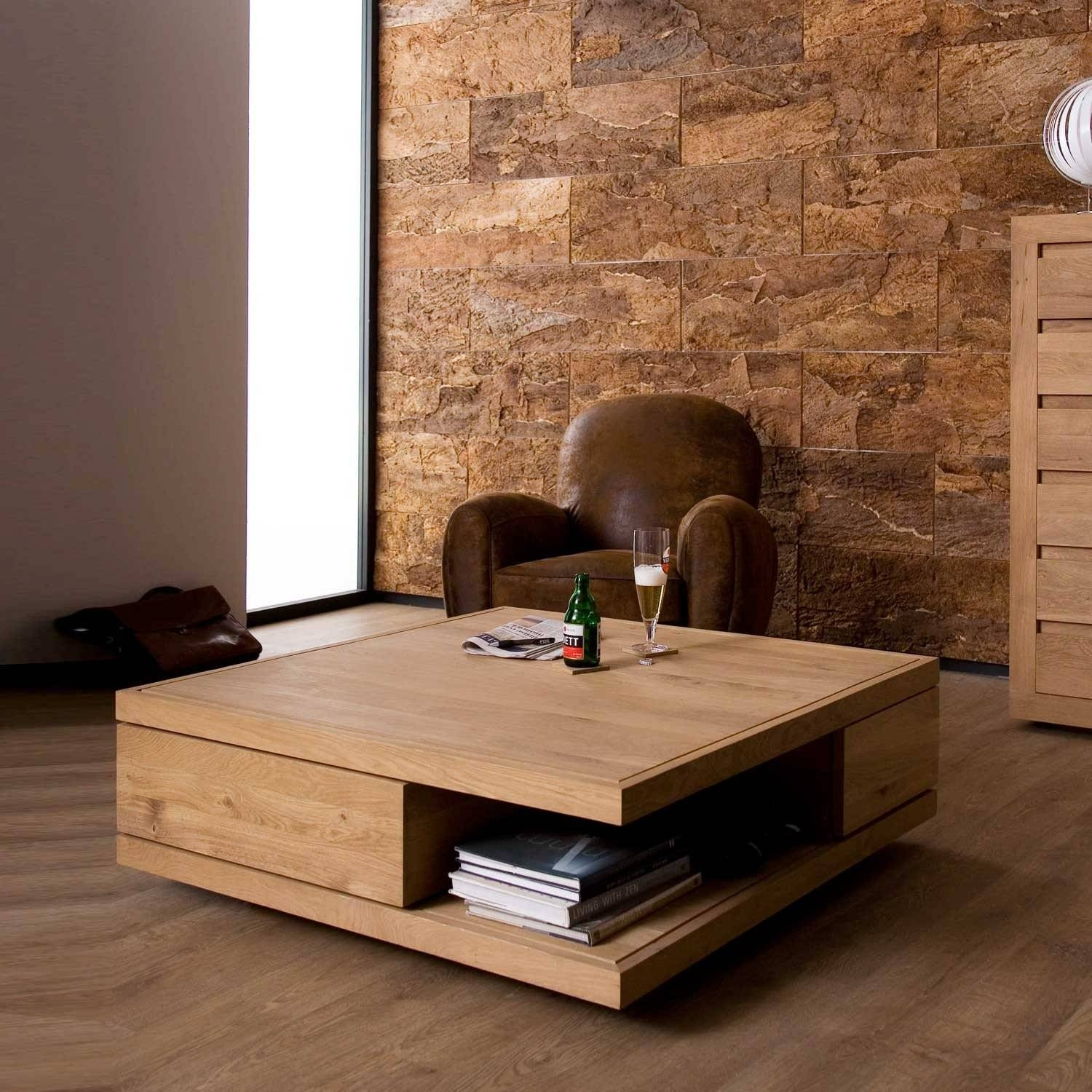 Ethnicraft Flat Oak Coffee Tables | Solid Wood Furniture Intended For Oak Coffee Table With Storage (View 3 of 15)