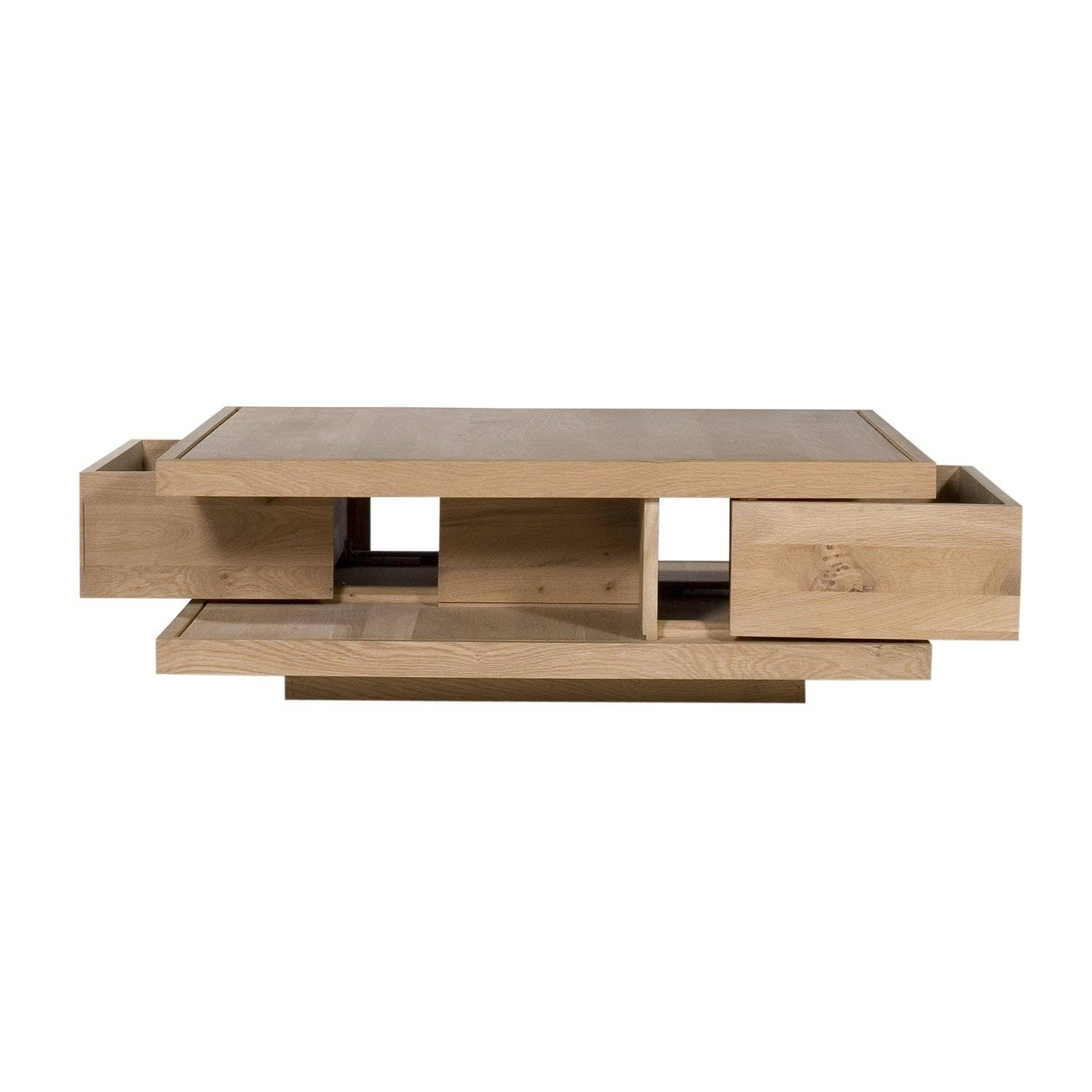 Ethnicraft Flat Oak Coffee Tables | Solid Wood Furniture pertaining to Low Oak Coffee Tables (Image 8 of 15)