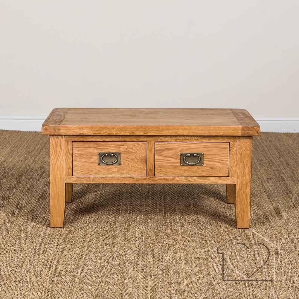Evesham Oak 2 Drawer Coffee Table Without Shelf - £219.00 - A with regard to Oak Veneer Coffee Tables (Image 4 of 15)