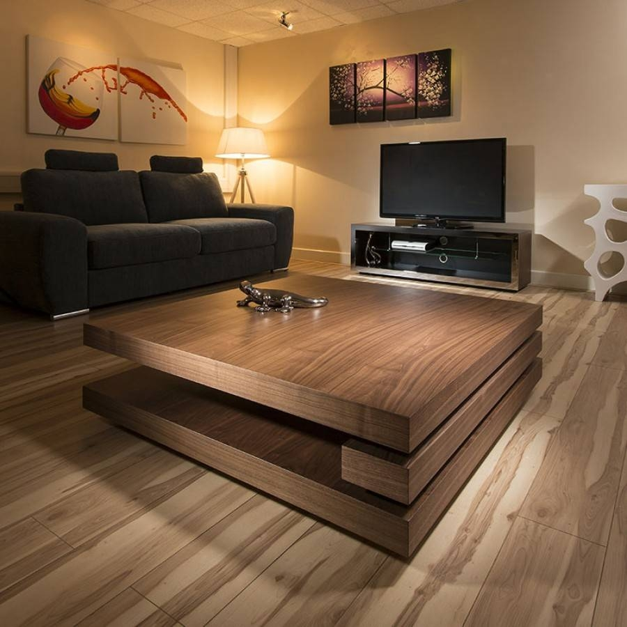 Extra Large Modern Designer Square Low Walnut 1.2Mt Coffee Table intended for Large Contemporary Coffee Tables (Image 7 of 15)