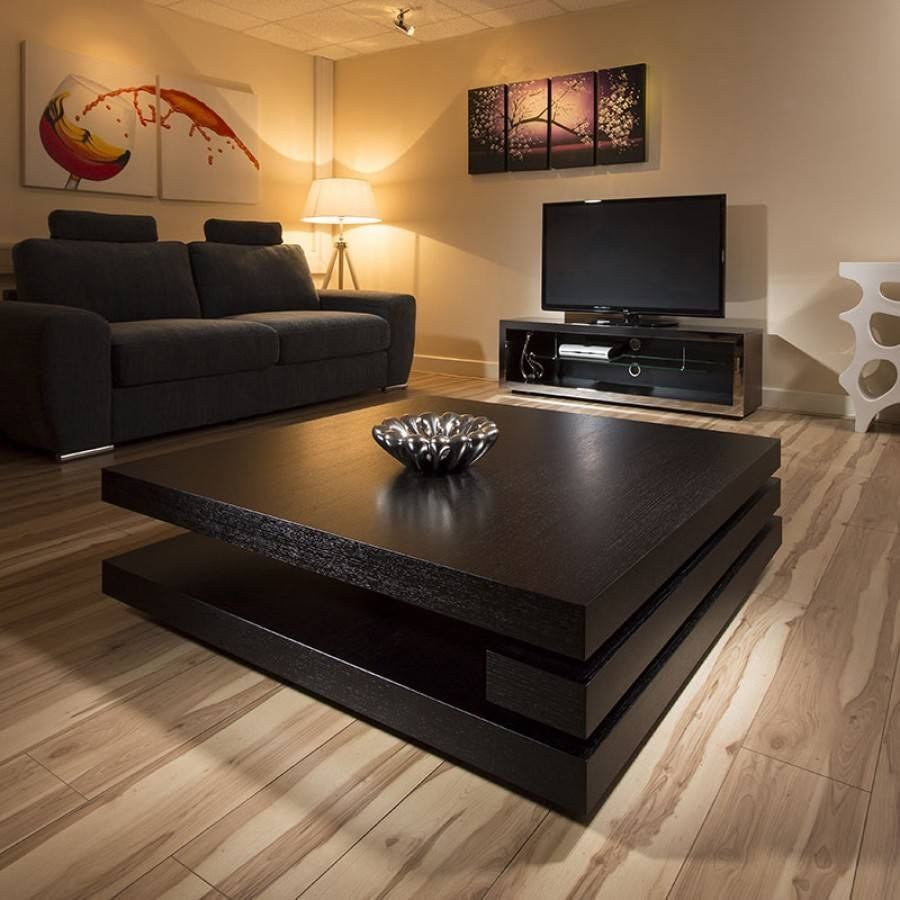 Extra Large Modern Square Black Oak 1.2Mt Coffee Table Ag Studios with regard to Large Oak Coffee Tables (Image 4 of 15)