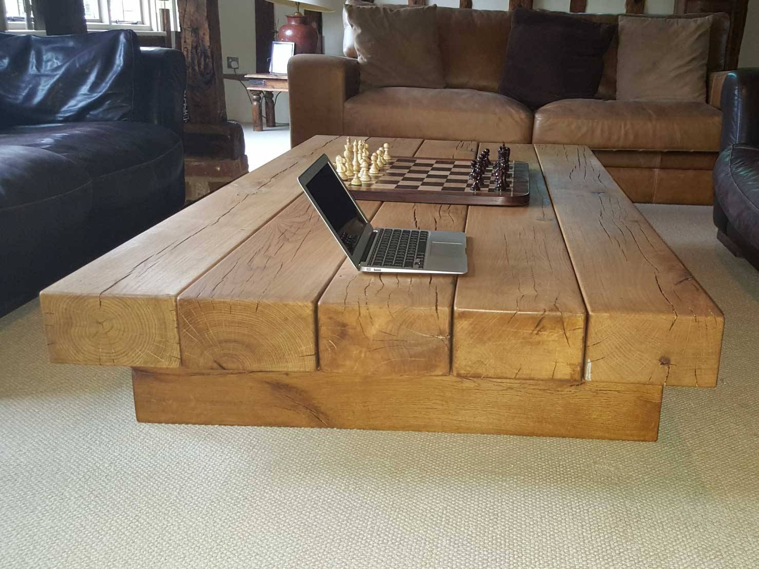 Extra Large Oak Coffee Table Project #334 | Abacus Tables intended for Oak Beam Coffee Tables (Image 6 of 15)