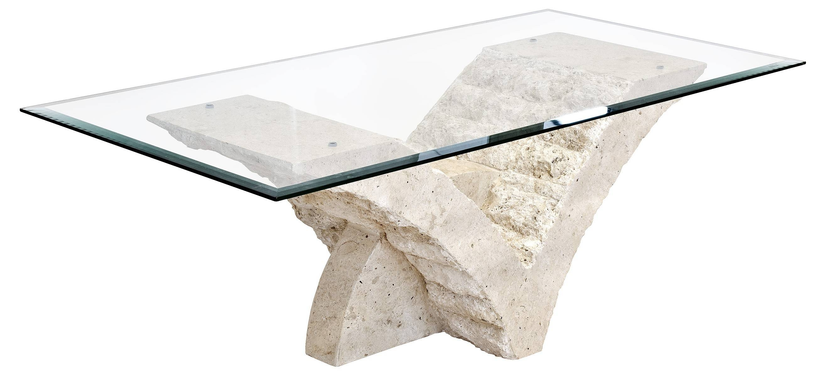 Fab And Charming Rectangular Glass Top With White Stone Coffee with Marble Base Glass Top Coffee Table (Image 7 of 15)
