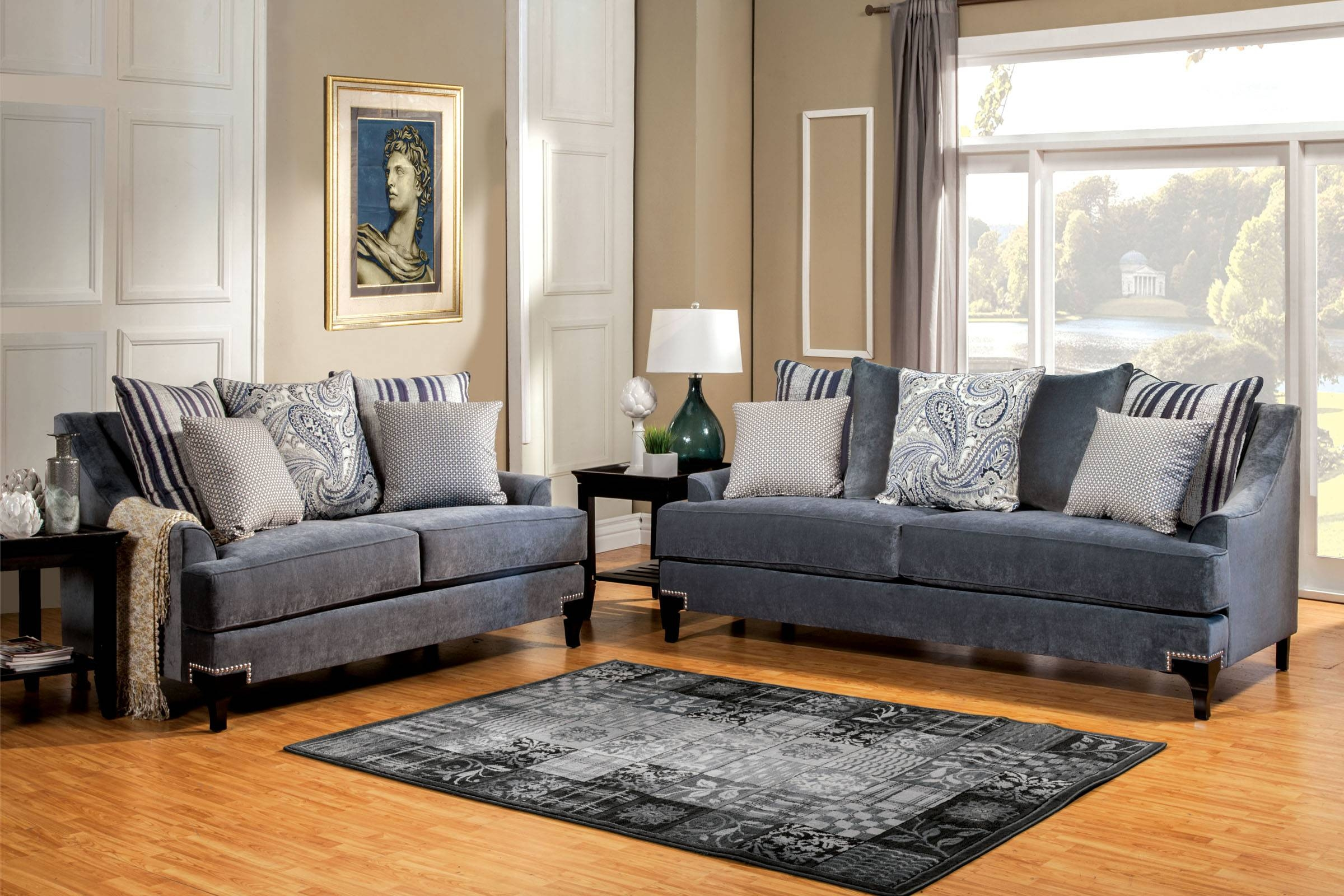 Fabric Sofas Living Room Blue Gray Blended Linen Sofa Beautiful throughout Blue Gray Sofas (Image 9 of 15)