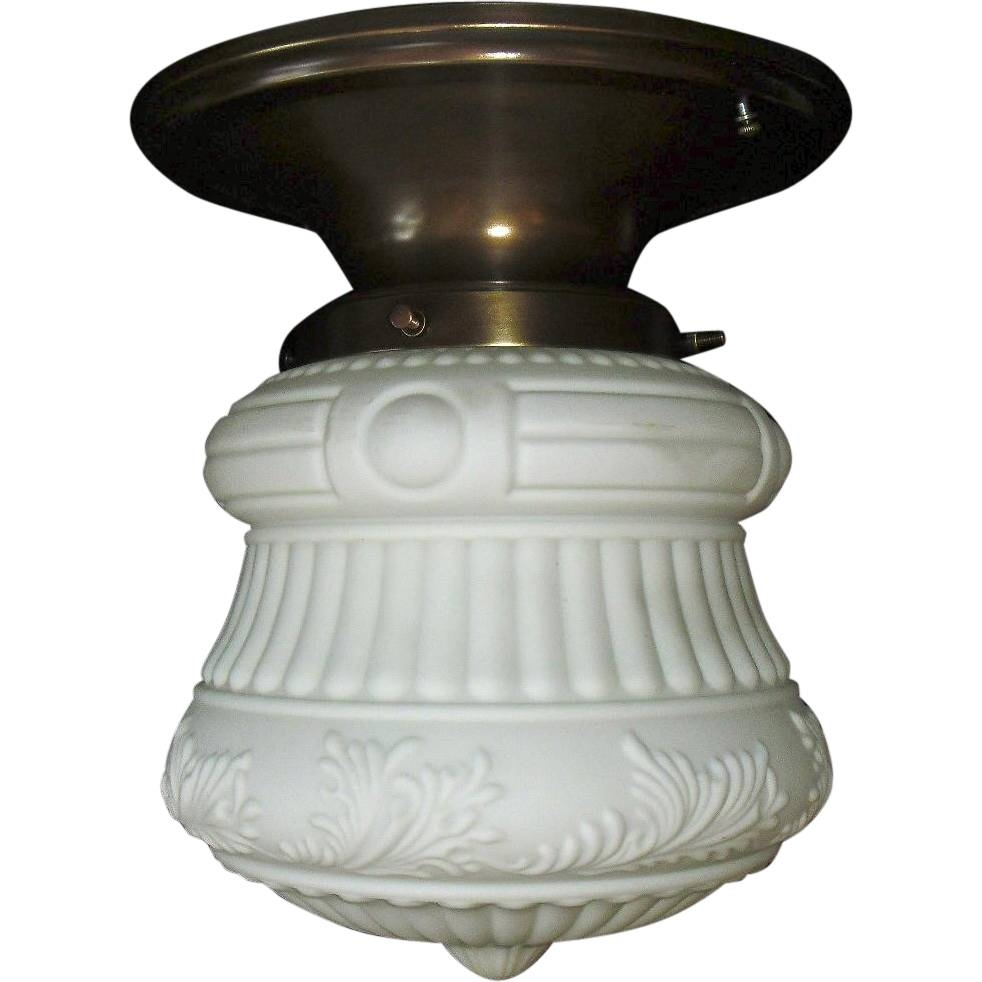 Fancy Embossed Milk Glass Ceiling Light In Original Brass Fixture intended for Milk Glass Lights Fixtures (Image 4 of 15)