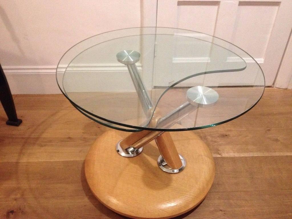 Fantastic Tokyo Swivel Glass Coffee Table In Oak | In Twickenham within Oak And Glass Coffee Table (Image 8 of 15)