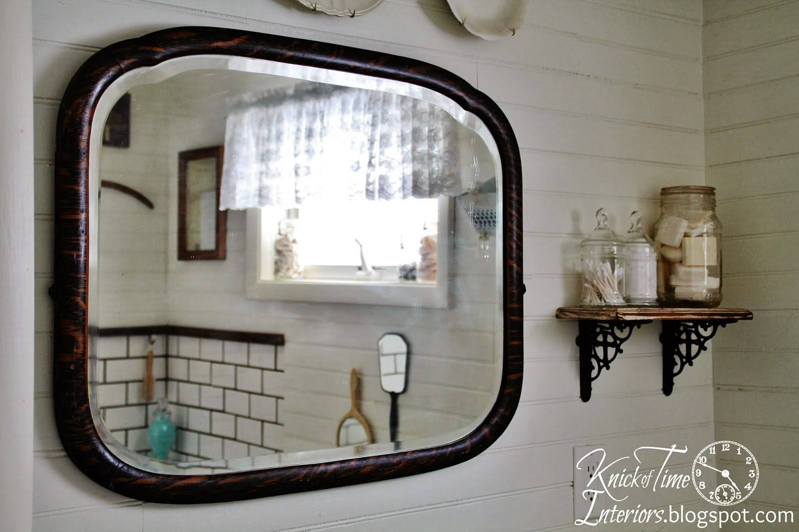 Farmhouse Bathroom Makeover {Again} – Knick Of Time Inside Antique Mirrors For Bathrooms (View 6 of 15)