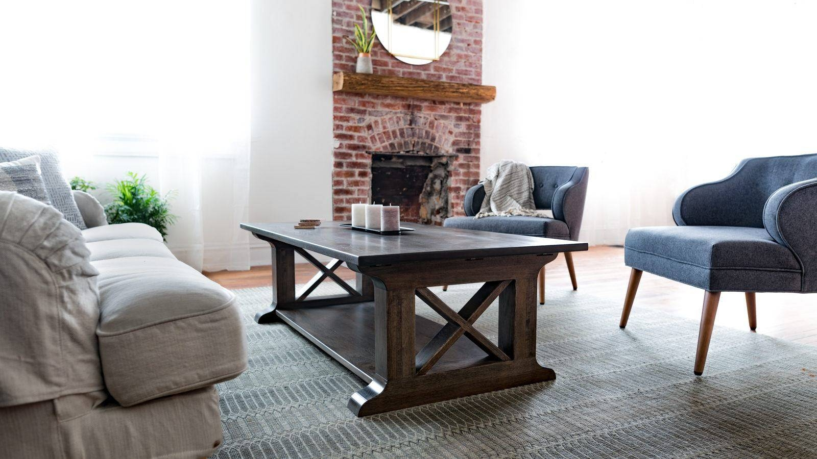 Farmhouse Coffee Table | Old-Farm Rustic Style Living Room Furniture regarding Farmhouse Coffee Tables (Image 8 of 15)