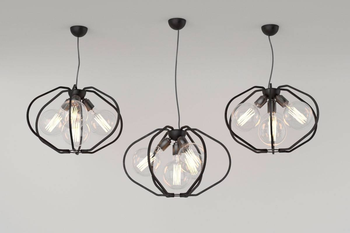 Farrier's Cage - Multi-Bulb. Iron Pendant Light Fitting with Wrought Iron Lights Fittings (Image 7 of 15)