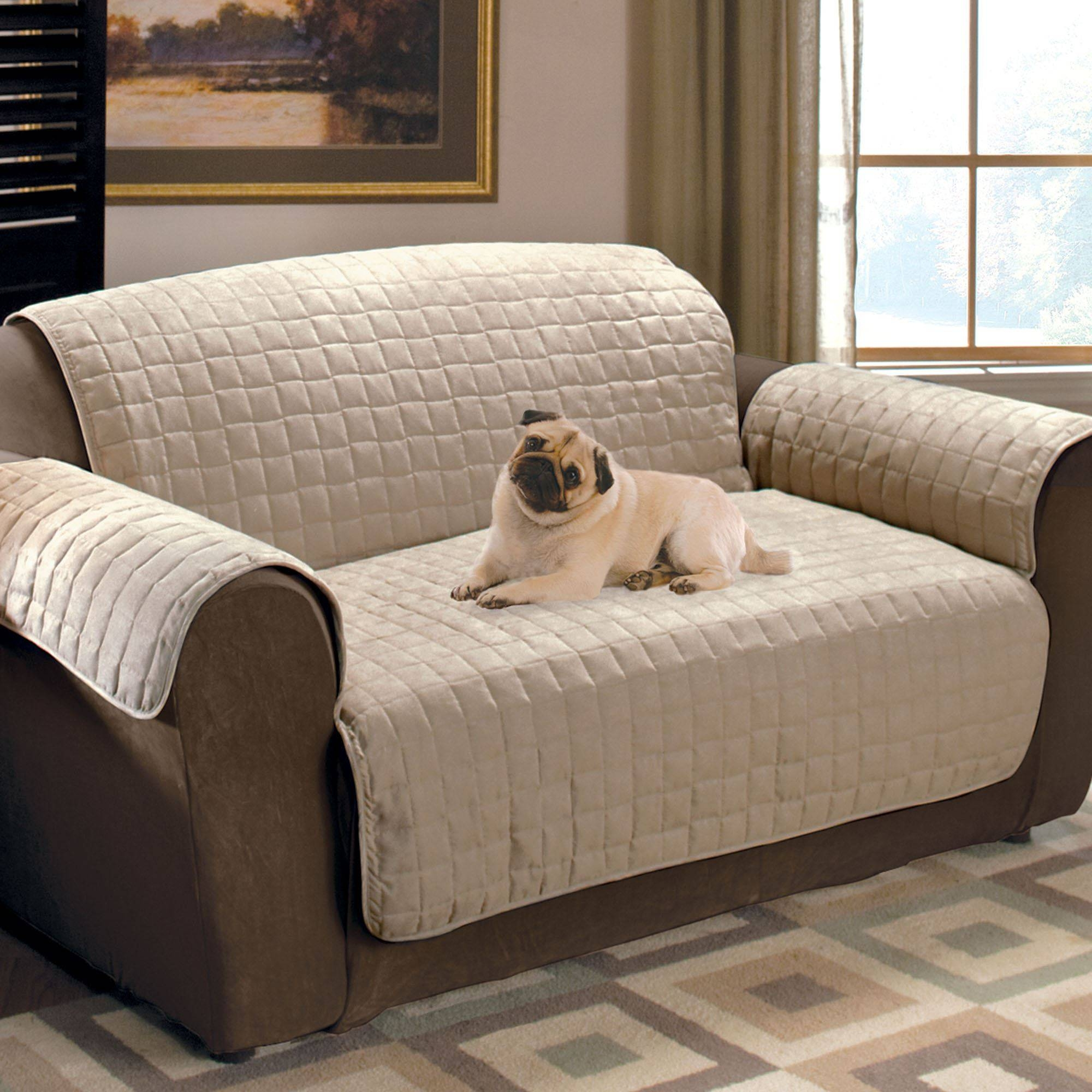 Faux Suede Pet Furniture Covers For Sofas, Loveseats, And Chairs for Dog Sofas And Chairs (Image 7 of 15)