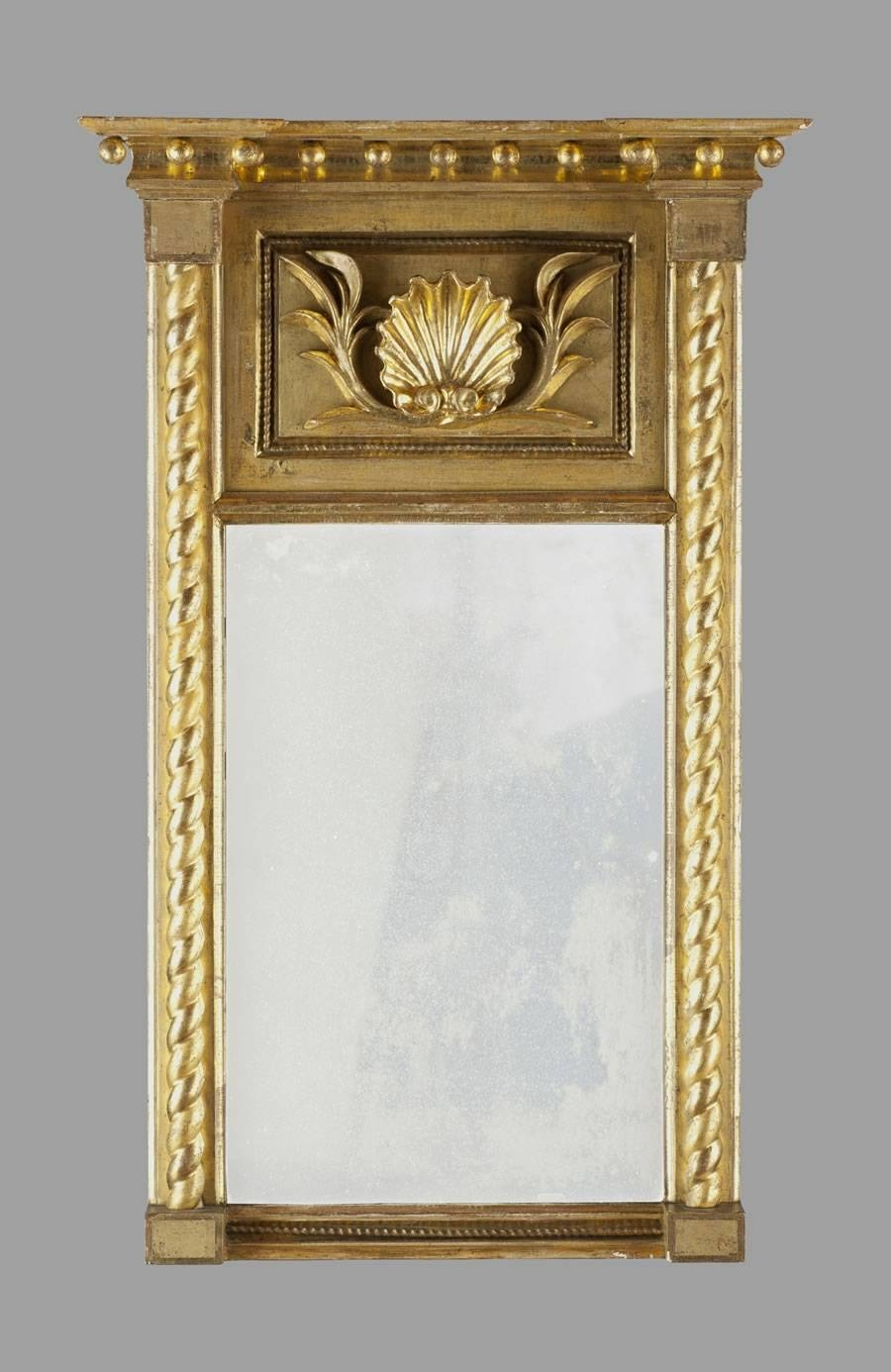 Federal Gold-Gilt Mirror With Shell Motif And Original Label regarding Gold Gilt Mirrors (Image 5 of 15)