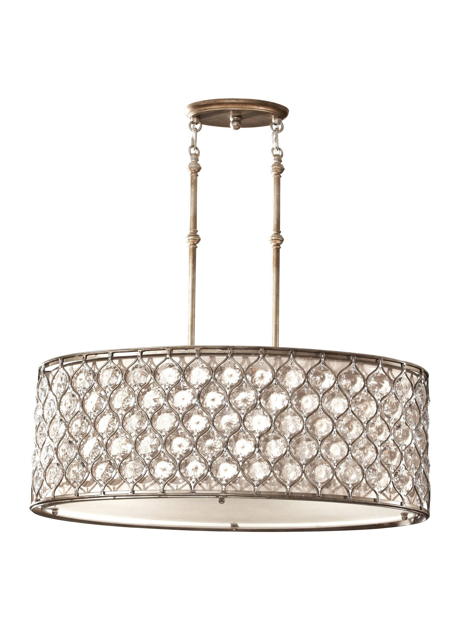 "Feiss Lucia 3-Light 32"" Burnished Silver Finish Oval Pendant regarding Oval Pendant Lights Fixtures (Image 6 of 15)"
