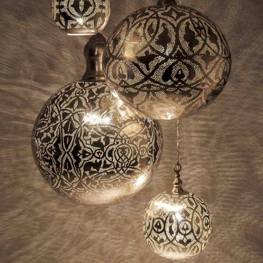Filisky Ball Pendant Lightidyll Home | Notonthehighstreet in Moroccan Punched Metal Pendant Lights (Image 4 of 15)