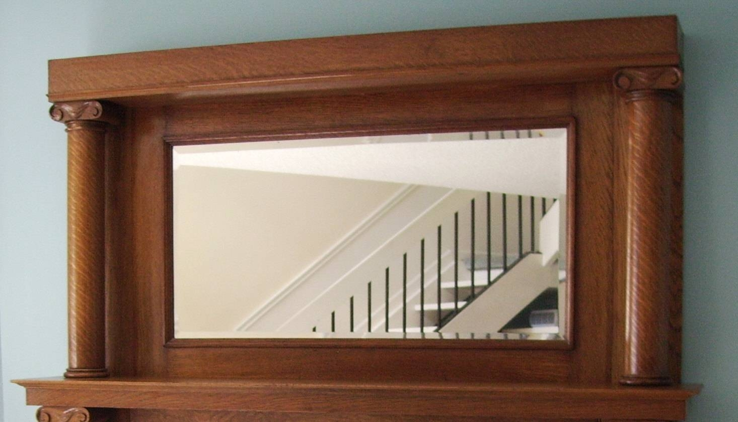 Fireplace Mantel Mirror Shelf Antique Tiger Oak in Large Mantel Mirrors (Image 7 of 15)