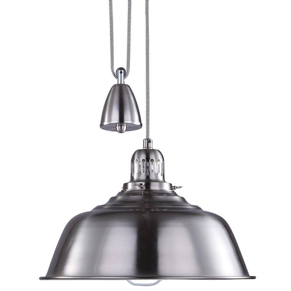 Fisherman Rise And Fall Pendant Light - Satin Chrome From Litecraft pertaining to Rise And Fall Pendant Lights (Image 9 of 15)