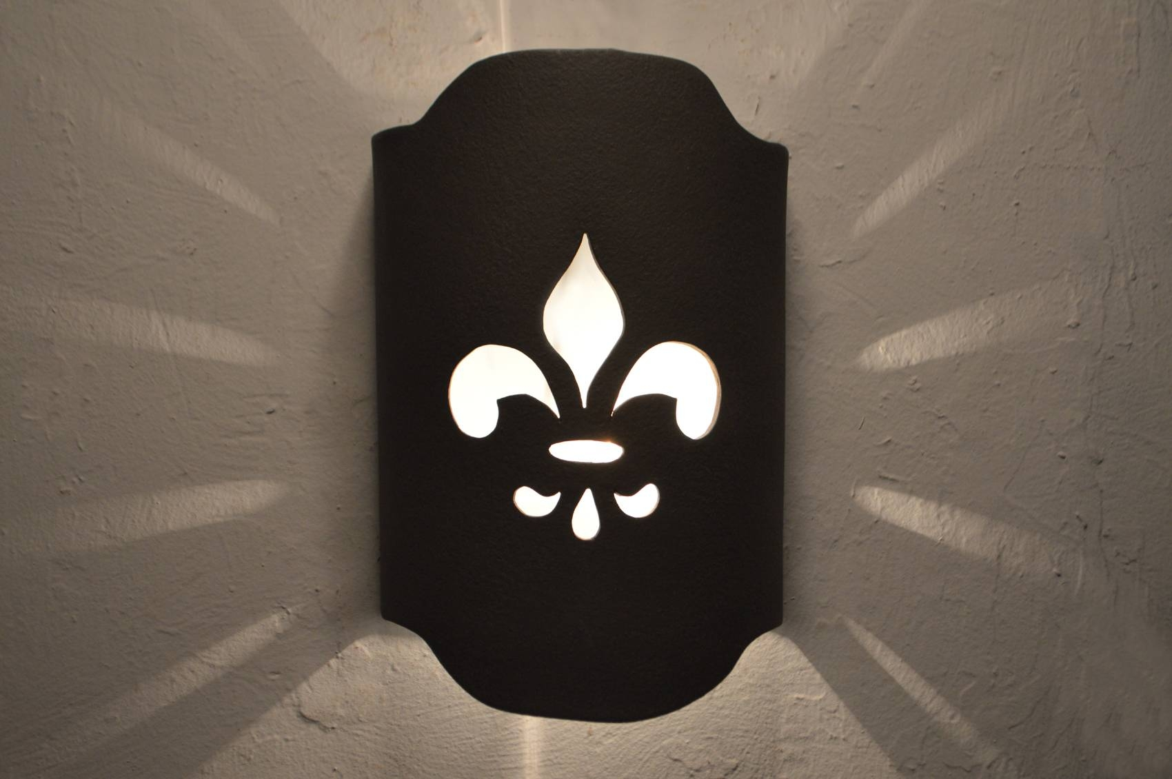 Fleur De Lis Design In Black Suede Color-Indoor/outdoor with Fleur De Lis Lights Fixtures (Image 6 of 15)