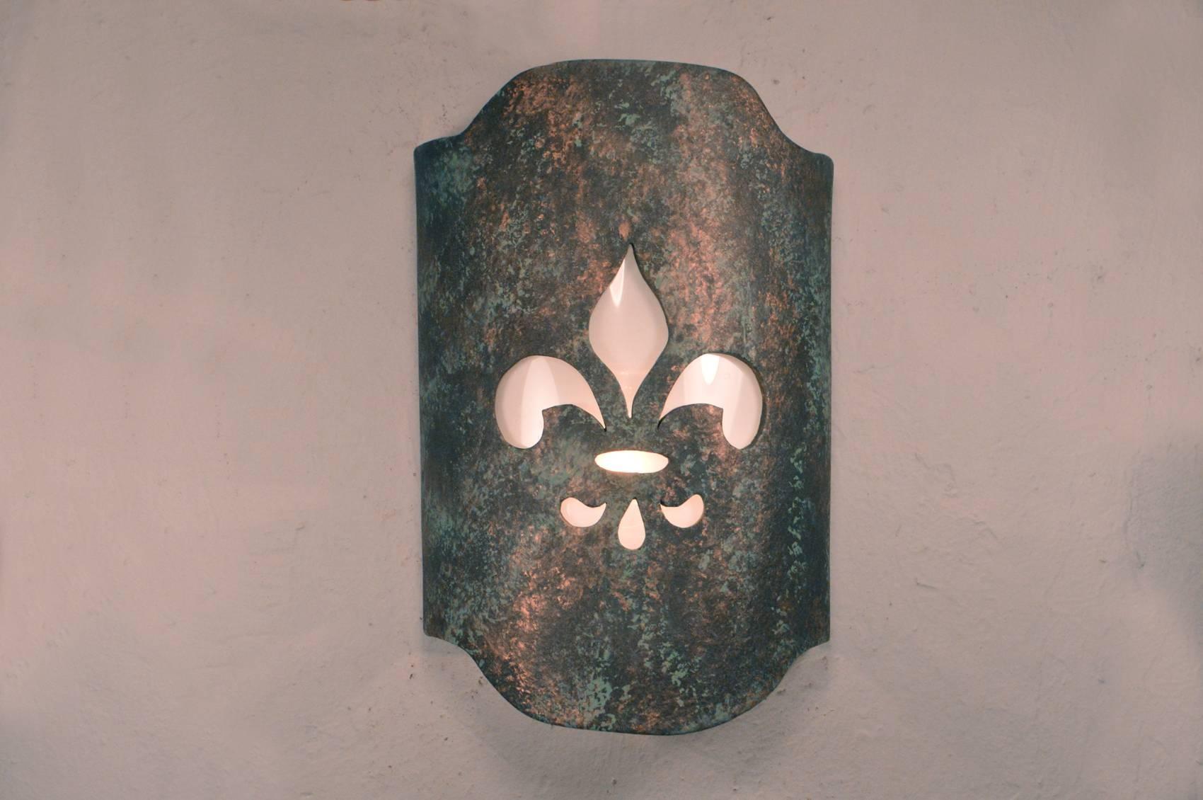 Fleur De Lis Design In Moss Agate Copper-Indoor/outdoor for Fleur De Lis Lights Fixtures (Image 7 of 15)