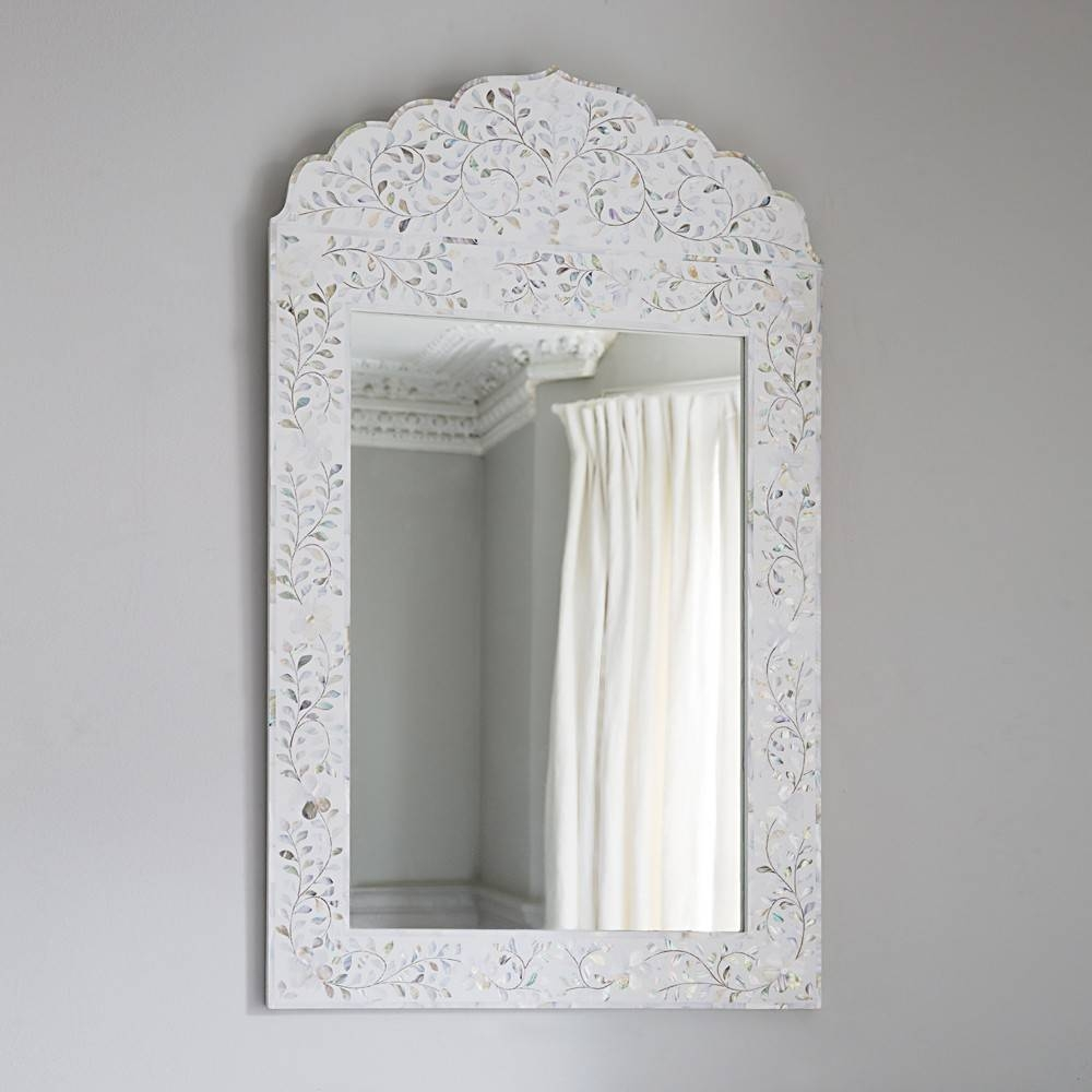 Fleur Mother Of Pearl Arch Mirror In Pearly White pertaining to Mother Of Pearl Wall Mirrors (Image 6 of 15)
