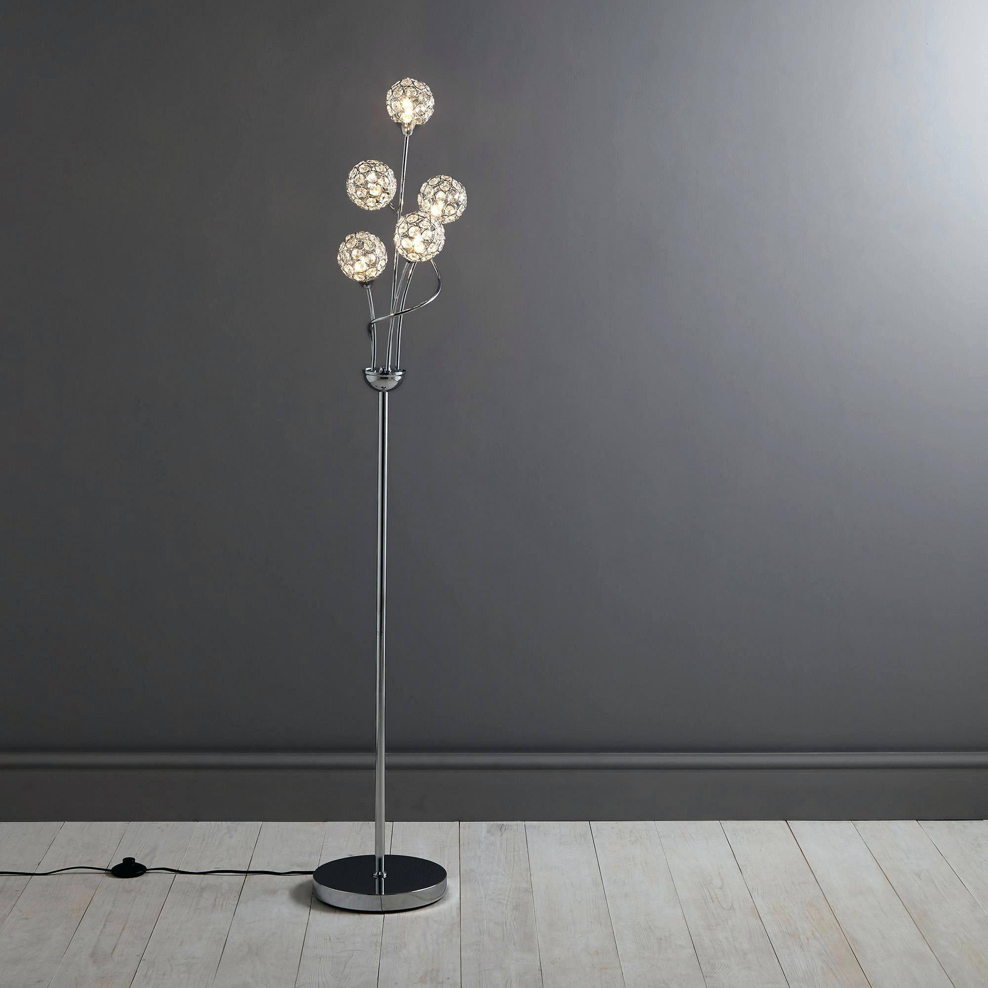 Floor Lamp ~ Mantra Dali Modern Design Chrome Floor Standard Lamp regarding John Lewis Glass Lamp Shades (Image 3 of 15)