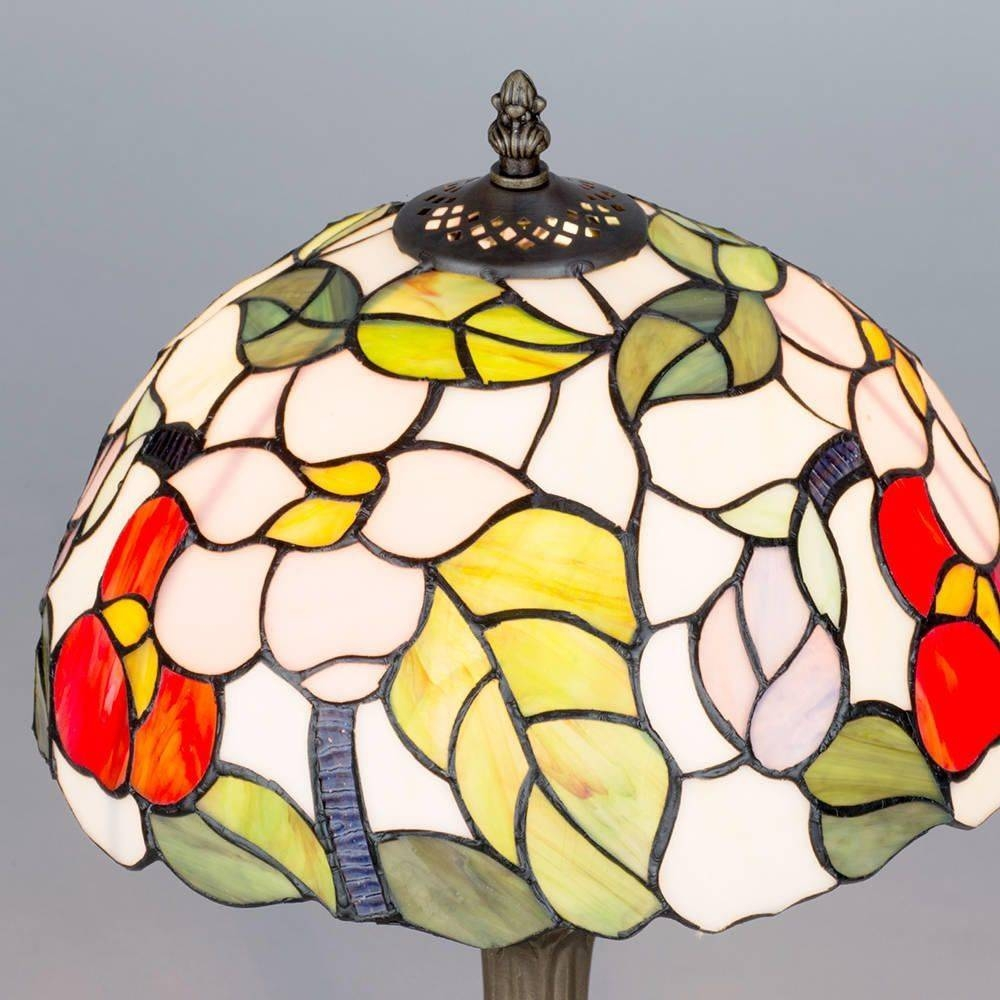 Floral 12 Inch Antique Brass Table Lamp Multi Coloured Shade Within Coloured Glass Lights Shades (View 9 of 15)