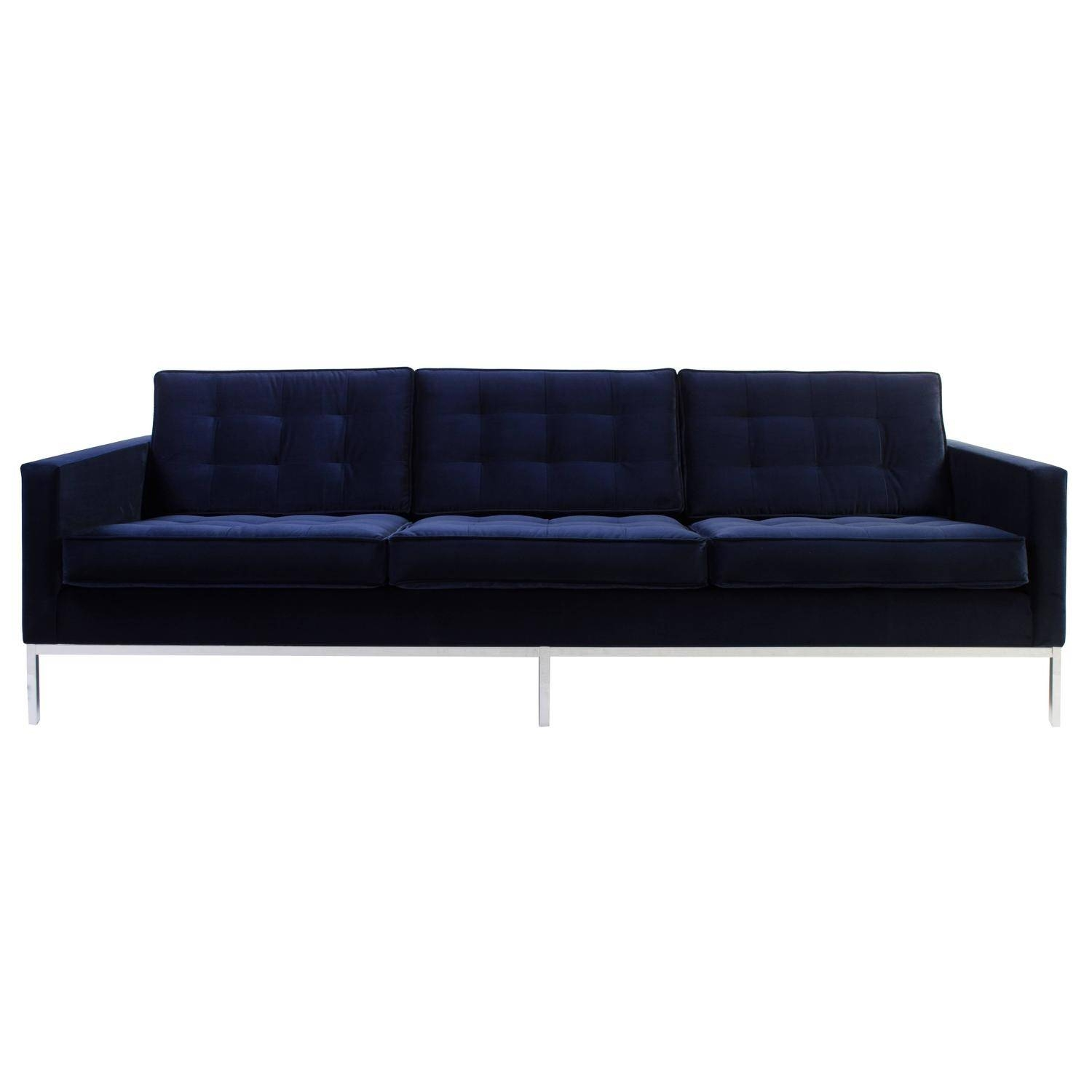 Florence Knoll Sofa In Navy Velvet For Sale At 1Stdibs Within Knoll Sofas (View 11 of 15)