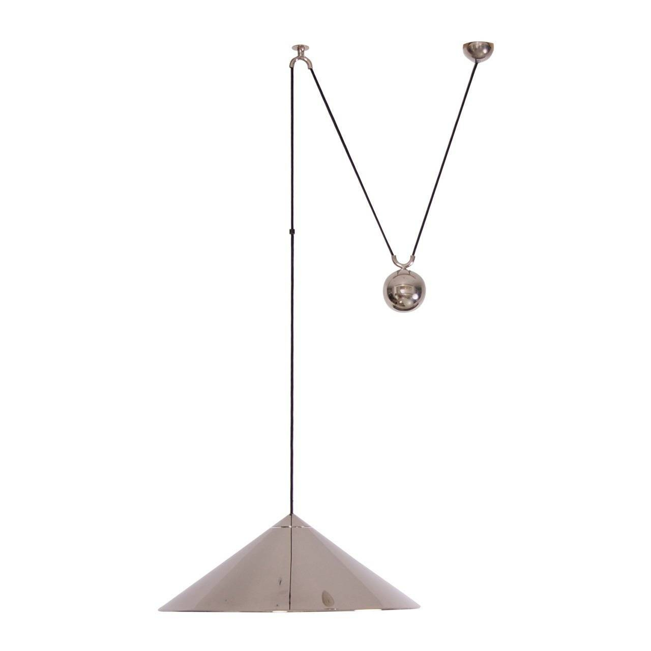 Florian Schulz Keos Extra Large Counterweight Pendant Lamp Nickel Within Counterweight Pendant Lights (View 8 of 15)