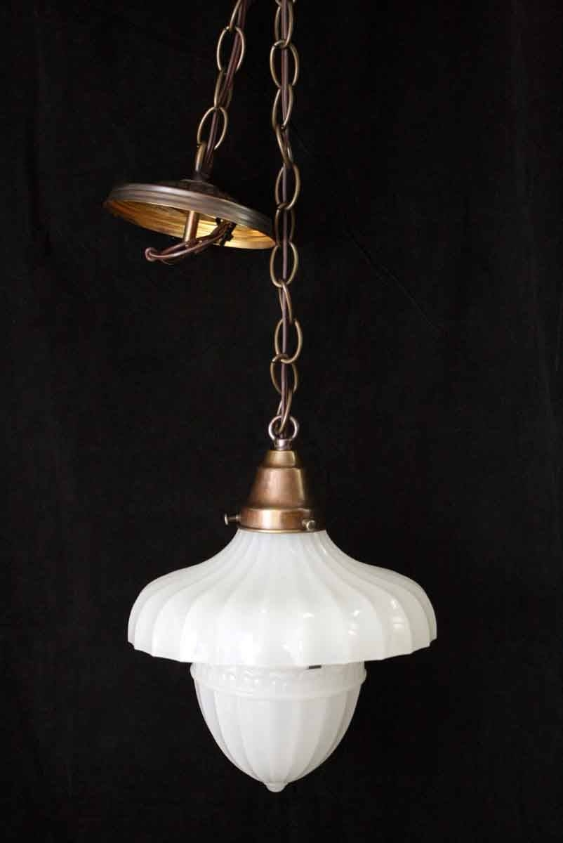 Fluted Milk Glass Light With Acorn Globe | Olde Good Things throughout Milk Glass Lights Fixtures (Image 5 of 15)