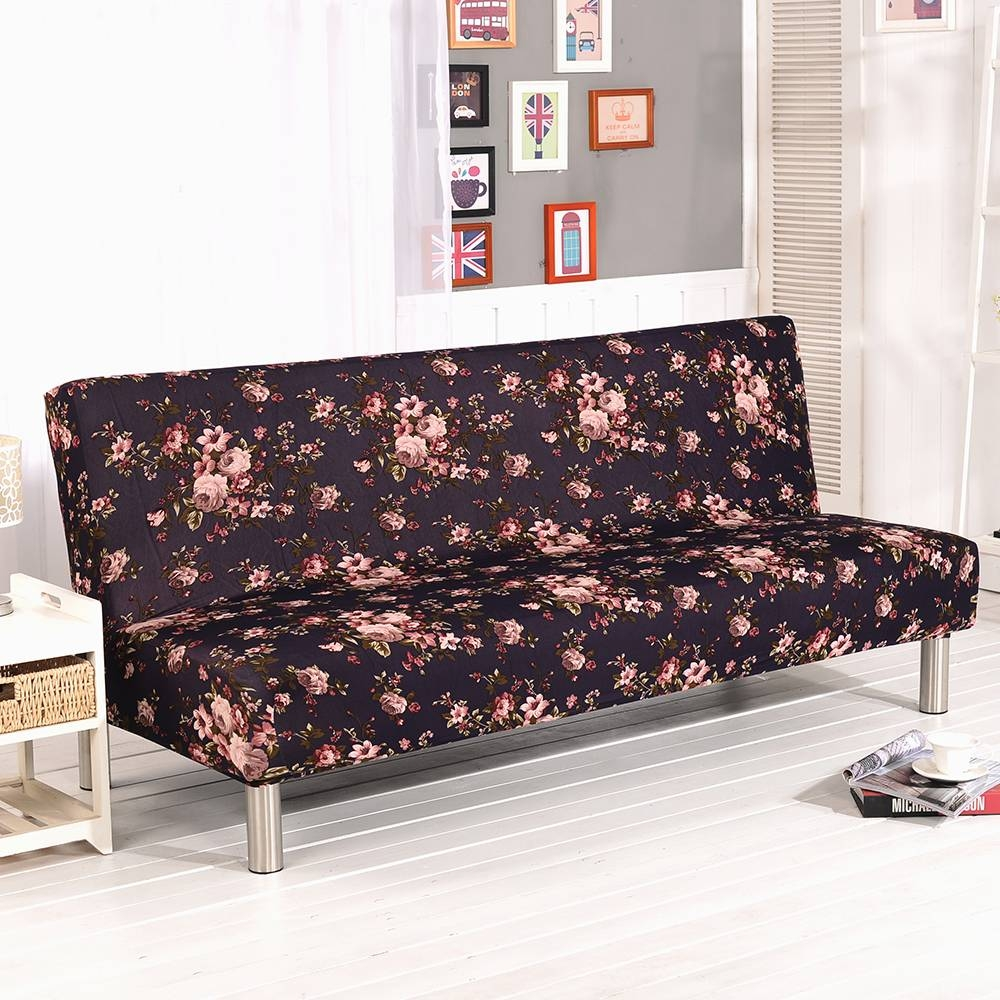 Folding Armless Sofa Futon Cover Furniture Seater Protector Couch throughout Armless Couch Slipcovers (Image 4 of 15)