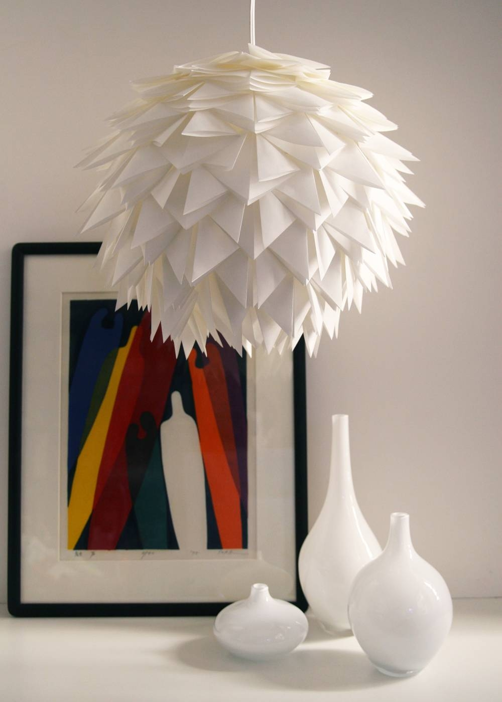 Folding, Folding, Folding… | The 3 R's Blog throughout White Flower Pendant Lights (Image 8 of 15)