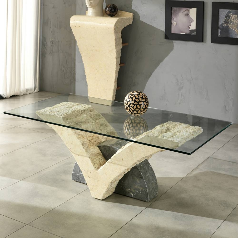 Fossil Stone Coffee Table With Glass Top Gardenia inside Glass and Stone Coffee Table (Image 6 of 15)
