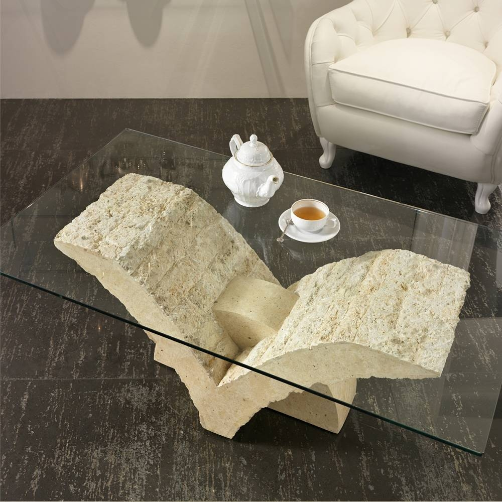 Fossil Stone Coffee Table With Glass Top Gardenia regarding Glass And Stone Coffee Table (Image 7 of 15)