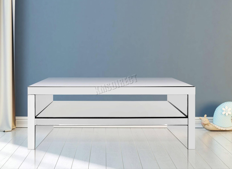 Foxhunter Mirrored Furniture Glass Coffee Table 2 Tier Desk Living For Mirror Glass Coffee Table (View 7 of 15)