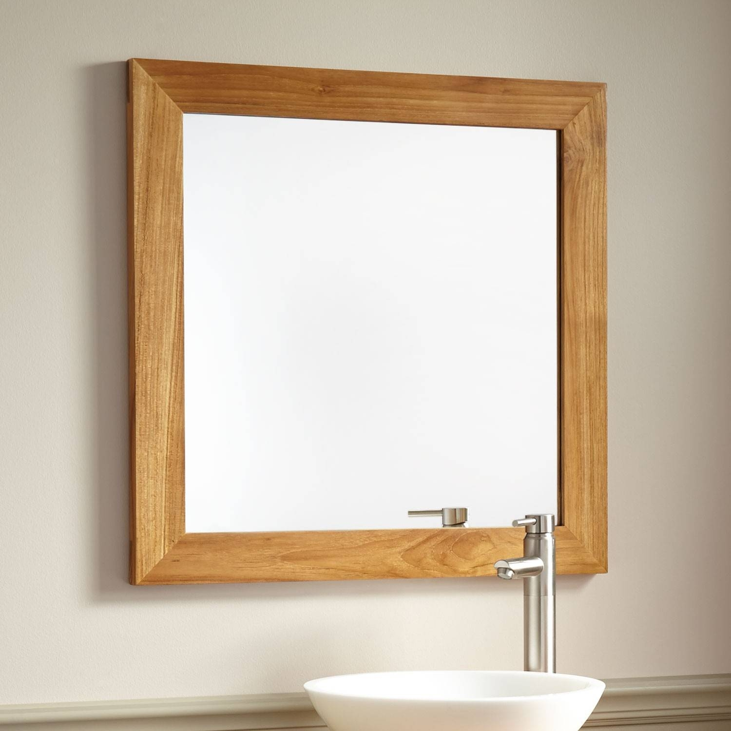 Framed Bathroom Mirrors | Signature Hardware for Rustic Oak Framed Mirrors (Image 9 of 15)